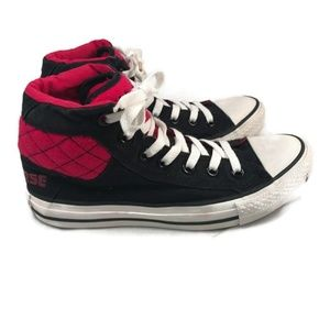 Converse Hi Tops Kids 5 Black Pink Quilted
